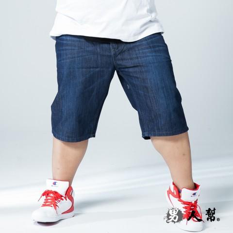 【男人幫大尺碼】K0502*嚴選輕磅大尺碼單寧牛仔短褲
