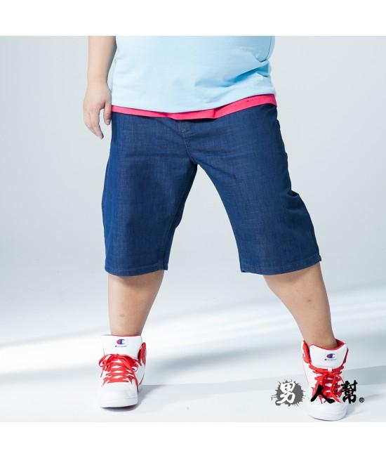 【男人幫大尺碼】K0505*美式黃車線大尺碼牛仔短褲