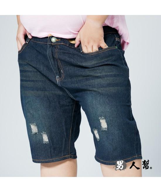 【男人幫大尺碼】K0591*時尚丹寧車縫黃線刷破牛仔短褲