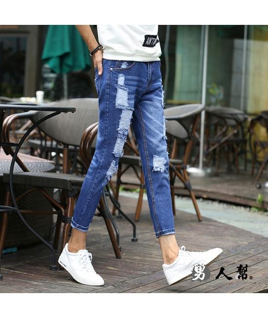 【男人幫】刷破牛仔褲青年韓版修身小腳褲彈力牛仔褲(CH785)