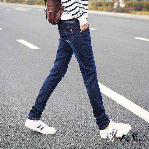 【男人幫】韓國東大門原色牛仔褲青年韓版修身小腳褲彈力牛仔褲(CH786)
