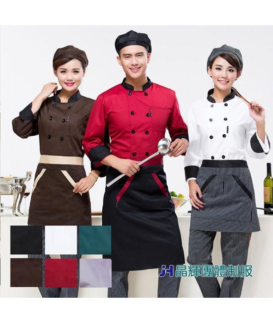 尼克-專業團體制服*酒店廚師服長袖蛋糕店烘焙廚房食堂工作服黑色雙排扣(CH031)
