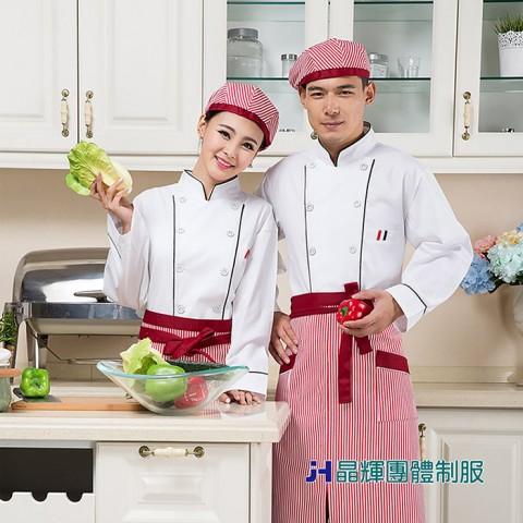 【男人幫】酒店廚師服長袖蛋糕店烘焙廚房食堂工作服白色雙排扣(CH033)
