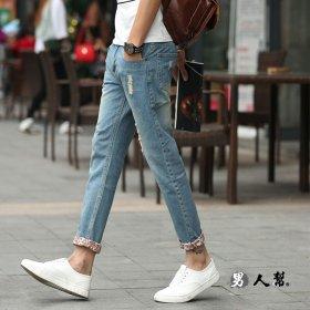 【男人幫】韓版空運破洞九分牛仔褲寬鬆牛仔褲(CH578)