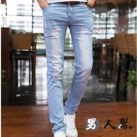 【男人幫】經典刷白復古修身小直筒韓版刮破彈力牛仔褲(CH649)