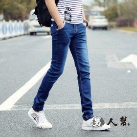 【男人幫】原色經典復古修身小直筒韓版休閒彈力牛仔褲(CH651)