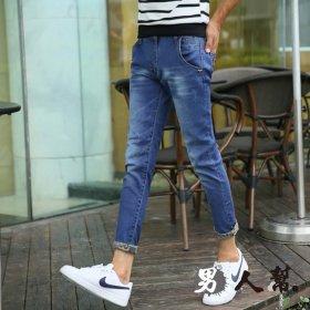 【男人幫】刷白經典復古修身小直筒韓版彈力九分可反折牛仔褲(CH652)