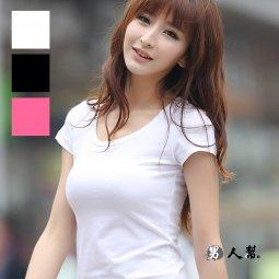 【男人幫】全素面百搭基本款基本單品女版合身短袖T恤萊卡彈性布料有腰身(AA001)