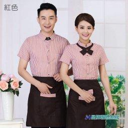 CH002*漢堡店服務員工作服襯衫短袖蛋糕店營業員工作服夏團體服訂做