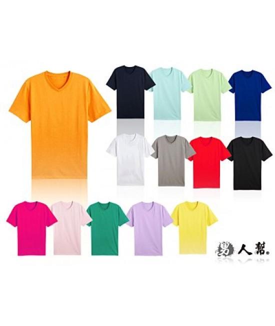 厚款素色V領T恤